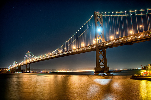 Moon Captured by the Bay Bridge - Color by Harold Davis