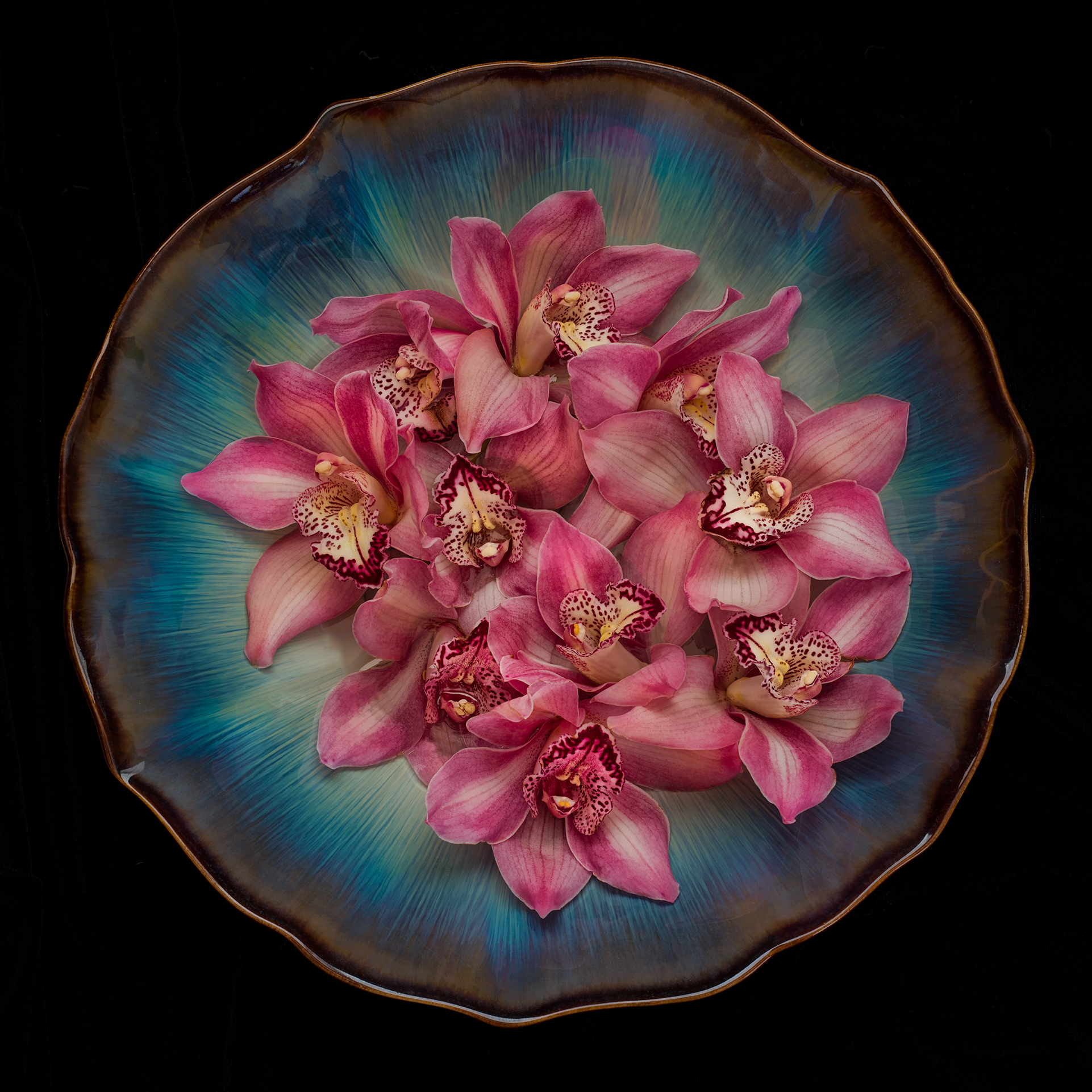 Orchids in a Blue Bowl