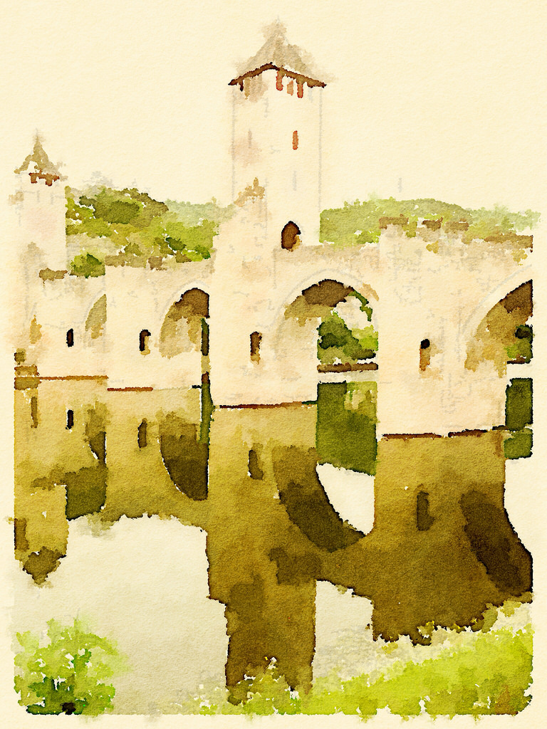 Pont Valentre Waterlogue © Harold Davis